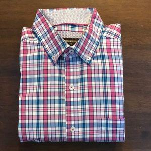 EUC multi color plaid button down dress shirt